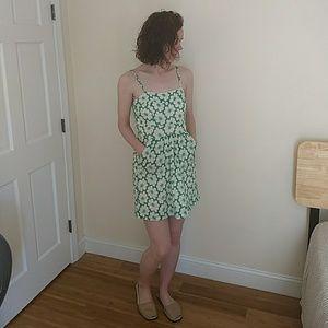 Summer Dress Green/Ivory Floral. Medium